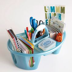dollar store bath tote turned craft/office supply organizer