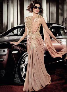 Buy Priyanka Chopra Peach Lycra Gown in USA, UK and Canada