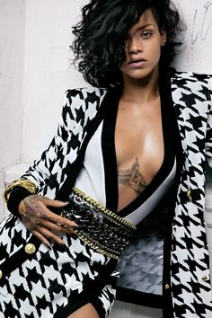 Rihanna for Balmain - I think I would put on a shirt for work....