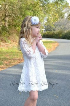 White Lace Flower Girl Dress, Lace dress, Vintage Style Dress, Communion Dress, Easter Dress