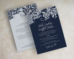 Navy blue and silver filigree wedding invitations, wedding invites www.appleberryink.com