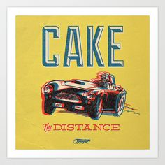 7 inch series: Cake- the distance Art Print by Damaged Goods - $18.00