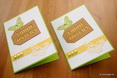 Osterkarte-Ostern-Karte-Easter-Card-Schmetterling-Frohe-Ostern-Tags-grün-gelb-Punkte-Dots-Perlen-Frühling-Gruß-Klappkarte-Doppelpack