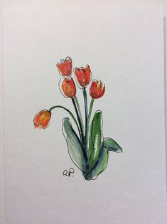 Orange Tulips Watercolor Card / Hand Painted Watercolor Card This card is an original watercolor not a print. It would look lovely framed. This card is painted on heavy card stock. I have used watercolor and ink. The card is 5x7 and in portrait. Comes with a matching envelope in a