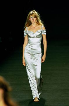 Vivienne Westwood Red Label   Spring 2000 Ready-to-Wear   71 Silver cut out shoulder maxi dress