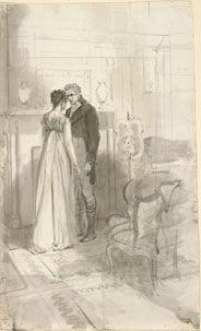 "Isabel Bishop (1902-1988), Scene from Pride and Prejudice: ""Her sister and Mr. Bingley standing together."""
