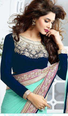 Beautiful diamond neck design blouse