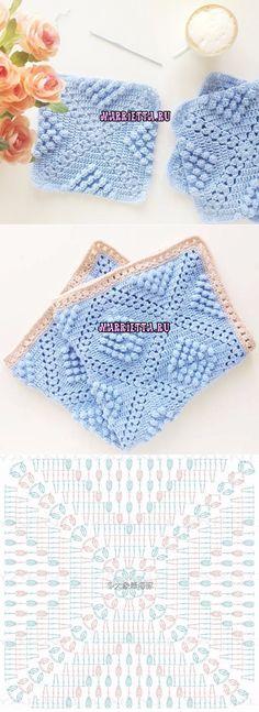 Схема большого мотива для вязания пледа или покрывала