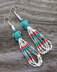 """Native American Style 3"""" Turtle White Turquoise Coral Silver Beaded Earrings"""
