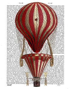 Tiered Hot Air Balloon Print Red, Original Illustration Giclee Print Digital Drawing Painting Poster Art Wall Art Wall Decor Wall Hanging
