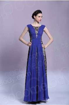 Modern A-Line Bateau Natural Floor Length Lace Royal Blue Sleeveless Side Zipper Evening Dress with Draped and Crystals COSF15010 #cocomelody