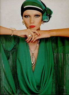 vintage 1960s jewelry L'Officiel   ... : Model wearing a watch and jewellery by Fred Joaillier, 1976
