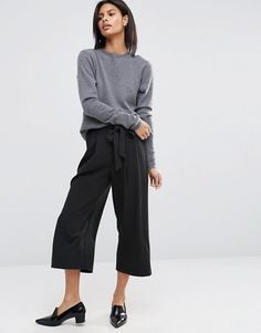 Tie Front Wide Leg Cropped Culotte