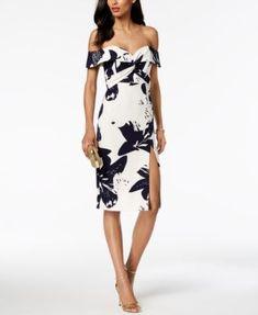 d49a1bcbac Floral Print Off-The-Shoulder Slit Midi Dress