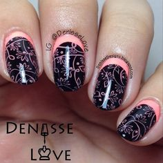 Nail art created by #DenisseLove using #BM711 #nailstamp #ShopBM