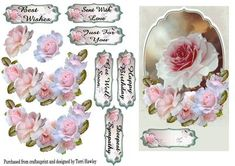 This is a very pretty 3D card front with beautiful soft pink roses, it has 6 different labels, so it can be used for many reasons. 1 best wishes. 2 Sent with love. 3 Happy Birthday. 4 Get Well Soon. 5 Just For You. 6 Deepest Sympathy. Plus you can use your own. There is also a insert to match if desired.
