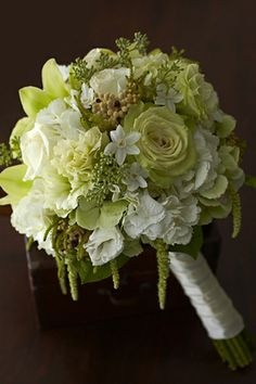 Great color choice for a bouquet. Perfect for walking down the aisle or as a centerpiece for a table. White&Green are the most common, it's easy and beautiful as it's own color scheme but it also works with others!