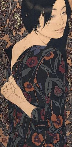 Ikenaga Yasunari (b,1965)- Woman Undressing (Japanese Art of Nihonga Redefined)