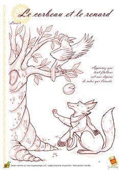 Coloriage corbeau renard sur Hugolescargot.com - Hugolescargot.com