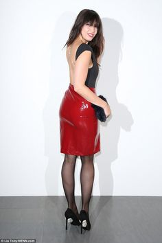 Daisy Lowe sizzles in backless top and PVC skirt at LFW Daisy Lowe, Red Leather Skirt, Leather Dresses, Black Leather, Backless Top, Pvc Skirt, Dress Skirt, Pvc Rock, Skirt Outfits