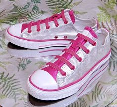 CONVERSE ALL-STAR SILVER PINK CANVAS SNEAKERS LACED SCHOOL SHOES JUNIORS SZ 2.5 #Converse #WalkingShoes