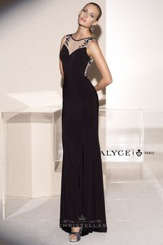 This dress features a sheer illusion sweetheart neckline accented with beading that continues along the back revealing a striking sheer embroidered design! Alyce 5683 Dress Black Label Collection / $450 - Shop the look at: www.christellas.com #prom #dresses #Alyce