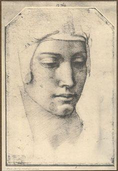 Tête de Jeune Femme, la tête serrée d'un Bonnet  by  MICHELANGELO