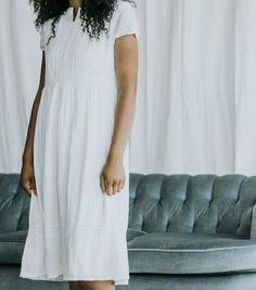 The Soft Cotton Dress in White   Paige Avenue   V Neck Dress   Nursing Friendly Dress   White Cotton Dress   Summer Dress   White Dress   Empire Waist Dress   Babydoll Style Dress   #whitedress #paigeavenue