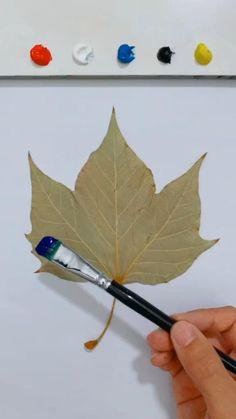 Fall Canvas Painting, Canvas Painting Tutorials, Hand Art, Leaf Art, Diy Art, Creative Art, Painting & Drawing, Watercolor Paintings, Art Drawings