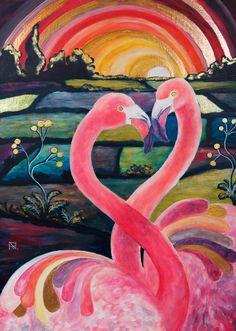 Painting «Pop Art Flamingos» by Nadine Lière, Acrylic on canvas board, 50 x 70 cm, 2016, grenadine-art.eu