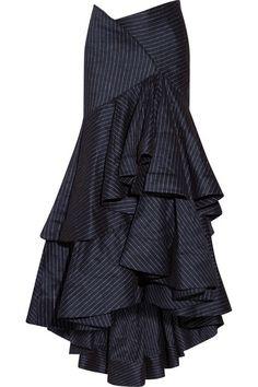 Shop Rosie Assoulin Bidi Bidi Bom Bom Pinstriped Stretch Linen-blend Maxi Skirt from stores. Frilly Skirt, Ruffle Skirt, Navy Skirt, Draped Skirt, Vestidos Plus Size, Ankle Length Skirt, Jeans Denim, Layered Skirt, Looks Style