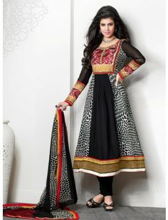 You Will Be The Center Of Attention In This Attire. Add The Sense Of Feminine Beauty By This Black Crepe Silk Salwar Kameez. This Attire Is Beautifully Adorned With Patch Work, Resham & Stones Work. Churidar, Black Salwar Kameez, Black Anarkali, Designer Salwar Kameez, Desi Clothes, Indian Clothes, Fancy Sarees, Indian Ethnic Wear, Indian Designer Wear