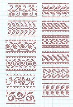 Best 11 Set Of Borders, Embroidery Cross, Vector Royalty Free Cliparts, Vectors, And Stock Illustration. Fair Isle Knitting Patterns, Crochet Stitches Patterns, Knitting Charts, Loom Patterns, Knitting Stitches, Cross Stitch Alphabet, Cross Stitch Samplers, Cross Stitch Charts, Cross Stitch Designs