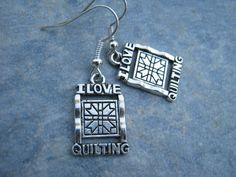 I Love Quilting Earrings Antiqued Silver by Abundantearthworks