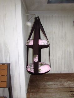 Cat Bed, RealTree Pink Camo Print  & Brown, Kitty Cloud, Double Hanging Cat Bed, Pet Furniture, Pet Gift, Pet Bed, Cat Lover