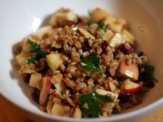 Healthy dinner tonight:  apple, almond, and smoked mozzarella farro salad