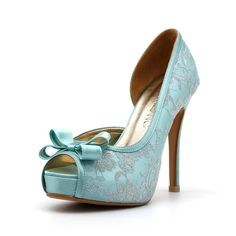 Tiffany Blue Wedding Heels, Robbin Blue Egg Wedding Shoes with Lace, Something Blue Wedding Heels, Mint Green Wedding Shoes. $90.00, via Etsy.