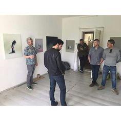 Artist Thilo Heinzmann showing his work to.Aidan, Russell & Daniel at Carl Freedmann Gallery.Berlin May 2015.