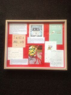 ... The kids framed some of my client thank you notes, cards and emails for the office.  Looks lovely!