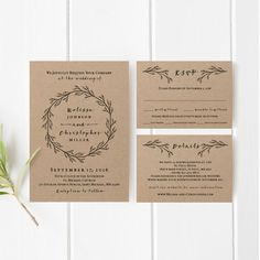 Printable Wedding Invitations Templates New Printable Wedding Invitation Template Set Kraft Wedding Black And White Wedding Invitations, Kraft Wedding Invitations, Elegant Invitations, Diy Invitations, Wedding Invitation Templates, Invitations Online, Invitation Ideas, Invitation Design, Wedding Card Design