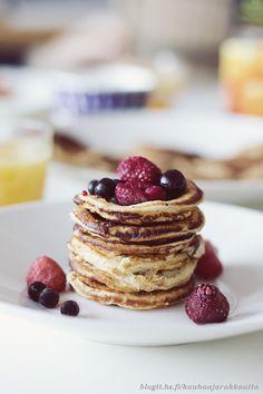 Delicious pancakes. perfect for a weekend brunch! recipe from Kauhaa ja rakkautta - HS.fi by Eeva Kolu