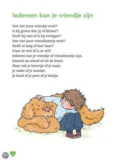 Iedereen kan je vriendje zijn > gedichtje Learn Dutch, Yoga For Kids, 7 Habits, Primary School, Social Skills, Book Illustration, Childcare, Classroom Decor, Kids Playing
