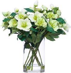 Cr/Gr Helleborus Water Like Faux Flower Arrangements, Faux Flowers, Glass Vase, Water, Home Decor, Fake Flowers, Gripe Water, Decoration Home, Room Decor