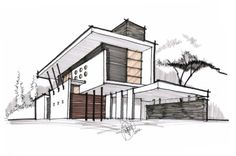 contemporary residence - architectural drawing