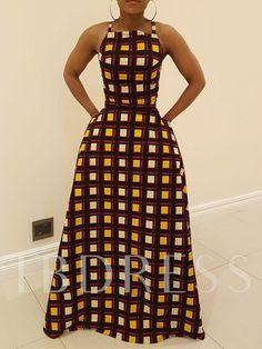 Sleeveless Backless Expansion Plaid Women's Maxi Dress