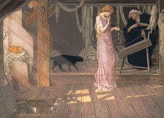 'Sleeping Beauty: The Princess pricks her finger', art by John D. Batten, 1895.