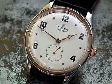 Stunning 1940's Oversize Steel & Rose Gold Rolex Precision Gents Vintage Watch