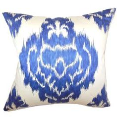 """Cotton pillow with a navy ikat motif.   Product: PillowConstruction Material: Cotton cover and cotton-polyester fillColor: NavyFeatures:  Clean knife edge finishHidden zipper closureInsert included Dimensions: 18"""" x 18"""""""