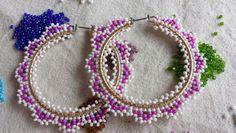 Hoop earrings Brick Stitch Earrings, Seed Bead Earrings, Beaded Earrings, Beaded Jewelry, Hoop Earrings, Seed Beads, Loom Beading, Beading Patterns, Beading Projects