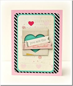 card with heart hearts HIP KIT card created by Bethany Crowell. Creative Inspiration, Design Inspiration, Hip Kit Club, Craft Club, September 2013, Heart Cards, Card Tags, Creative Cards, Atc